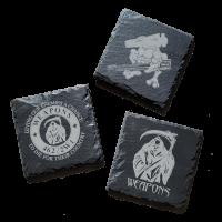 "Black Slate Weapons Coasters - 4"""