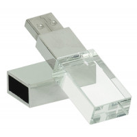 8 GB Glass USB Flash Drive with White LED