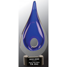"Blue Round Window Rain Drop Art Glass (11 1/4"")"