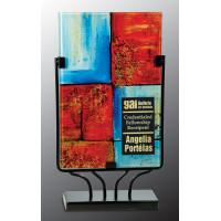 "Rectangular Art Glass with Metal Base (14"")"