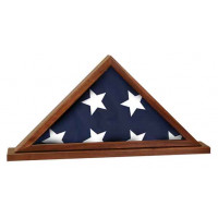 "Genuine Walnut Flag Cases with Base Attached (16 1/4"" x 8 1/4"")"