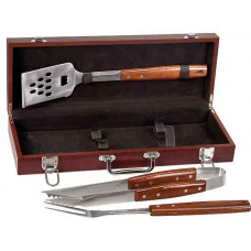 BBQ Gift Set Box and Tool Handles in Rosewood