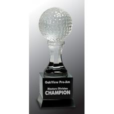 "Crystal Golf Ball on Black Pedestal Base (9"")"