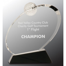 "Clear Crystal Oblong Golf Award on Black Crystal Base (7 1/4"")"