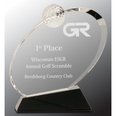 "Clear Crystal Oblong Golf Award on Black Crystal Base (6 1/2"")"