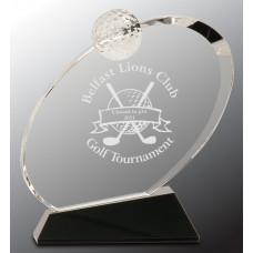 "Clear Crystal Oblong Golf Award on Black Crystal Base (6"")"