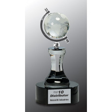 "Crystal Spinning Globe with Clear Tower on Black Base (8 1/2"")"