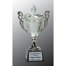 "Crystal Cup with Silver Handles and Stem (11 1/4"")"