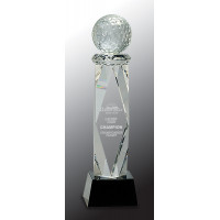 "Clear Crystal Golf Ball on Facet Column with Black Base (10 3/4"")"