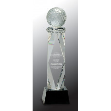 """Clear Crystal Golf Ball on Facet Column with Black Base (10 3/4"""")"""