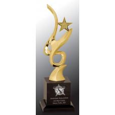 """Gold Metal Art Crystal Award (11 3/4"""")"""