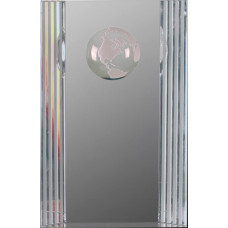 """Clear Crystal Rectangle with Globe Etching (6 1/2"""")"""