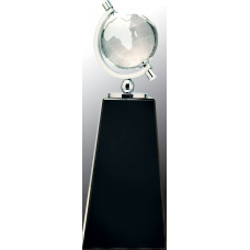 """Crystal Spinning Globe on Black Pedestal Base (9"""")"""
