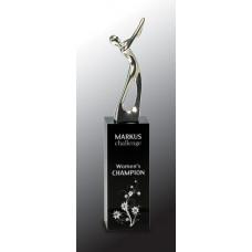 "Silver Metal Golf Figure on Black Crystal Pedestal (9 1/2"")"