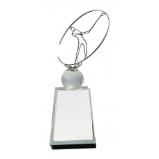 """Clear/Black Crystal Golf Award with Silver Metal Oval Figure (12"""")"""