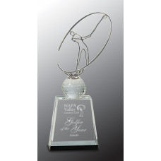 "Clear/Black Crystal Golf Award with Silver Metal Oval Figure (11"")"