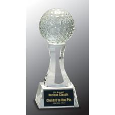 "Crystal Golf Ball on Clear Pedestal Base (6"")"
