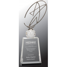 "Clear/Black Crystal Award with Silver Metal Oval Star (12"")"
