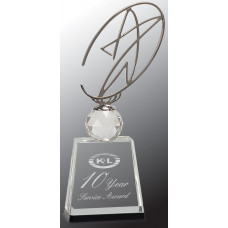 "Clear/Black Crystal Award with Silver Metal Oval Star (11"")"