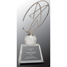 "Clear/Black Crystal Award with Silver Metal Oval Star (10"")"