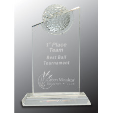 "Clear Crystal with Inset Crystal Golf Ball on Clear Base (8"")"