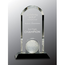 "Clear Crystal Dome with Inset Golf Ball on Black Pedestal Base (9"")"