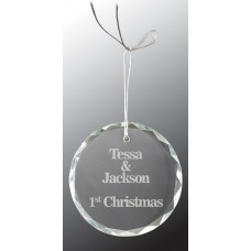 "Crystal Round Facet Ornament (3"")"