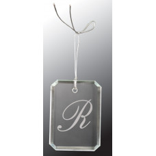 "Crystal Rectangle Clipped Corner Ornament (3"")"