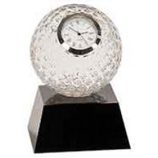 "Clear Crystal Golf Ball Clock with Black Pedestal Base (5"")"