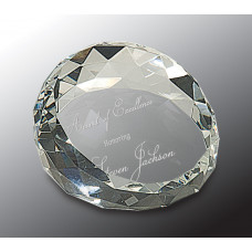 "Clear Round Crystal Facet Paperweight (2 1/2"" x 1 3/4"")"
