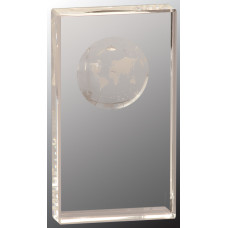 "Clear Crystal Rectangle with Globe Etching (7"")"