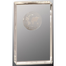 "Clear Crystal Rectangle with Globe Etching (5"")"