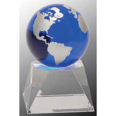 "Blue Crystal Globe on Clear Crystal Base (5"")"