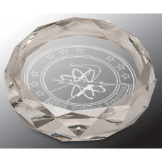 "Clear Round Crystal Paperweight (3"")"