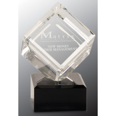 "Clear Crystal Cube on Black Pedestal Base (6"")"