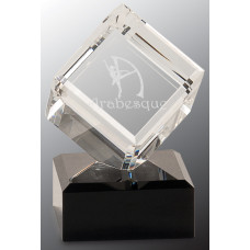 "Clear Crystal Cube on Black Pedestal Base (4 1/2"")"