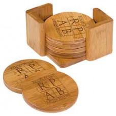 Bamboo 6 Coaster Set in Round