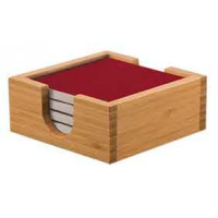 Ceramic Coaster Sets & Coaster Holder in Red (4)