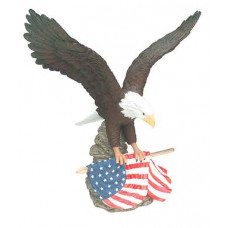 """Hand Painted Resin Eagle with Flag (12"""")"""