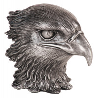 "Resin Eagle Heads Metallic Silver (4"")"