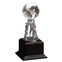 """Crystal Globe on Silver Metal Stand on Black Piano Finish Base (10"""")"""