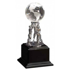 "Crystal Globe on Silver Metal Stand on Black Piano Finish Base (10"")"