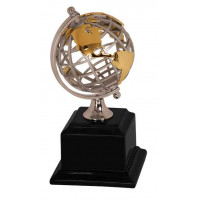 "Gold/Silver Metal Globe on Black Piano Finish Base (8 3/4"")"
