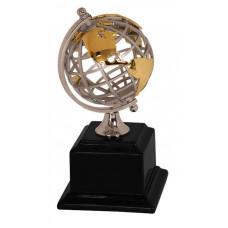 "Gold/Silver Metal Globe on Black Piano Finish Base (8 3/4"")"