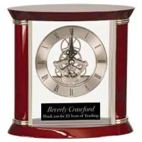 "Executive Rosewood/Silver Piano Finish Clock (7 3/4"")"