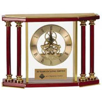 "Executive 4 Pillar Rosewood/Gold Piano Finish Clock (7 1/4"")"
