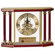 """Executive 4 Pillar Rosewood/Gold Piano Finish Clock (7 1/4"""")"""