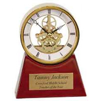 "Executive Rosewood/Gold Piano Finish Clock (7 1/4"")"