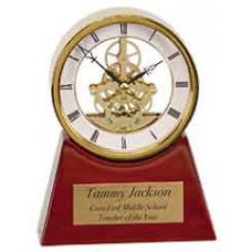 """Executive Rosewood/Gold Piano Finish Clock (7 1/4"""")"""