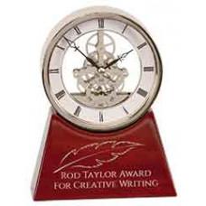 "Executive Rosewood/Silver Piano Finish Clock (7 1/4"")"